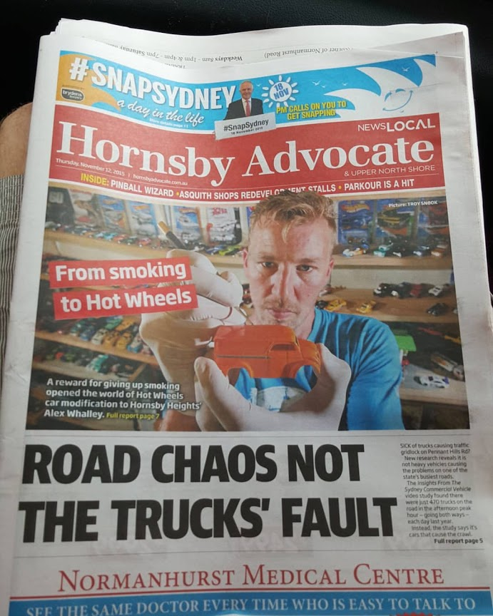 front page news - my custom hotwheels in the media