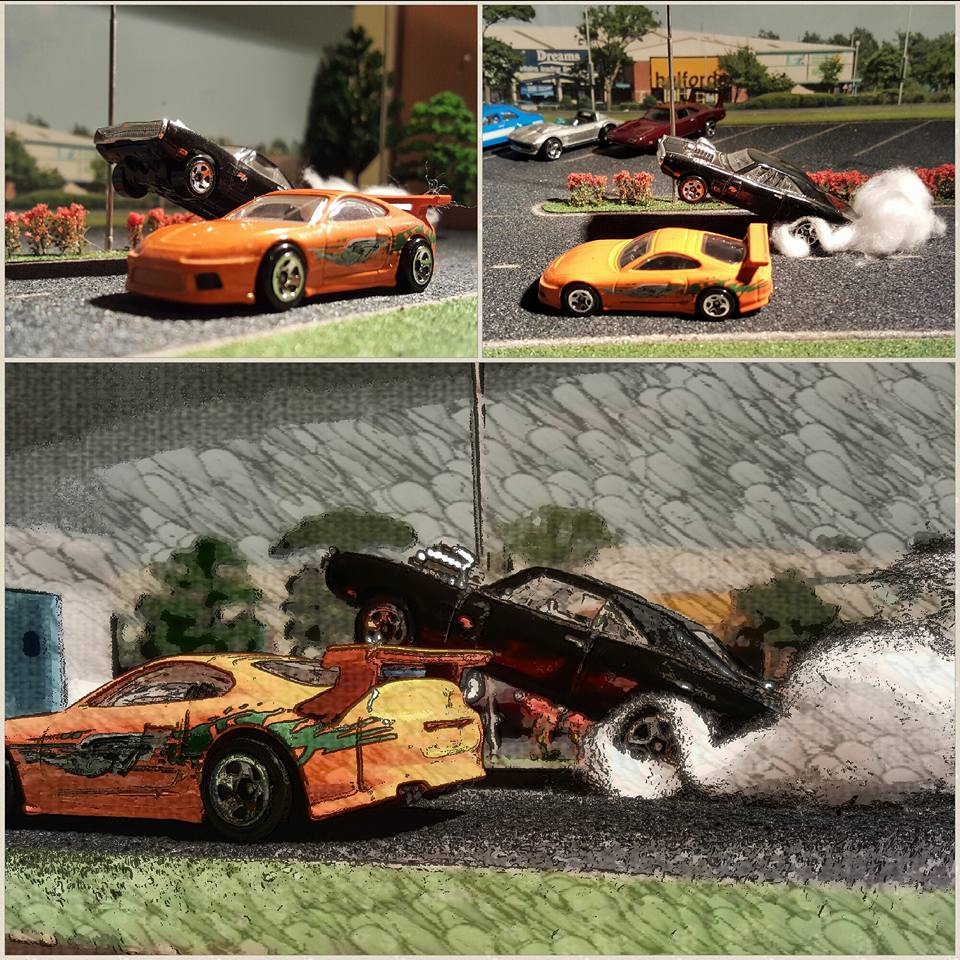 fast and furious race off on the diorama shelf