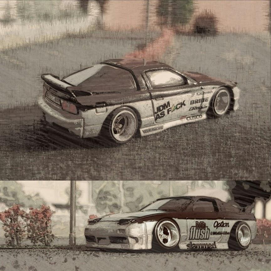custom hellaflush nissan 180sx diecast car