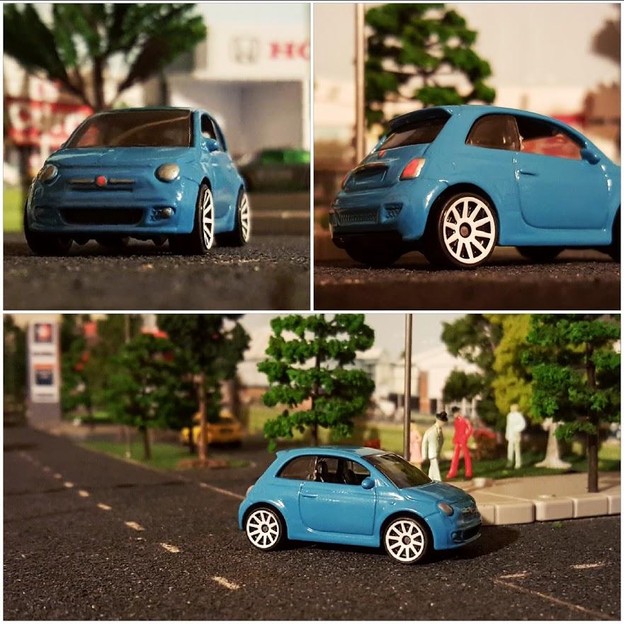 fiat 500 diecast hot wheels on diorama shelf