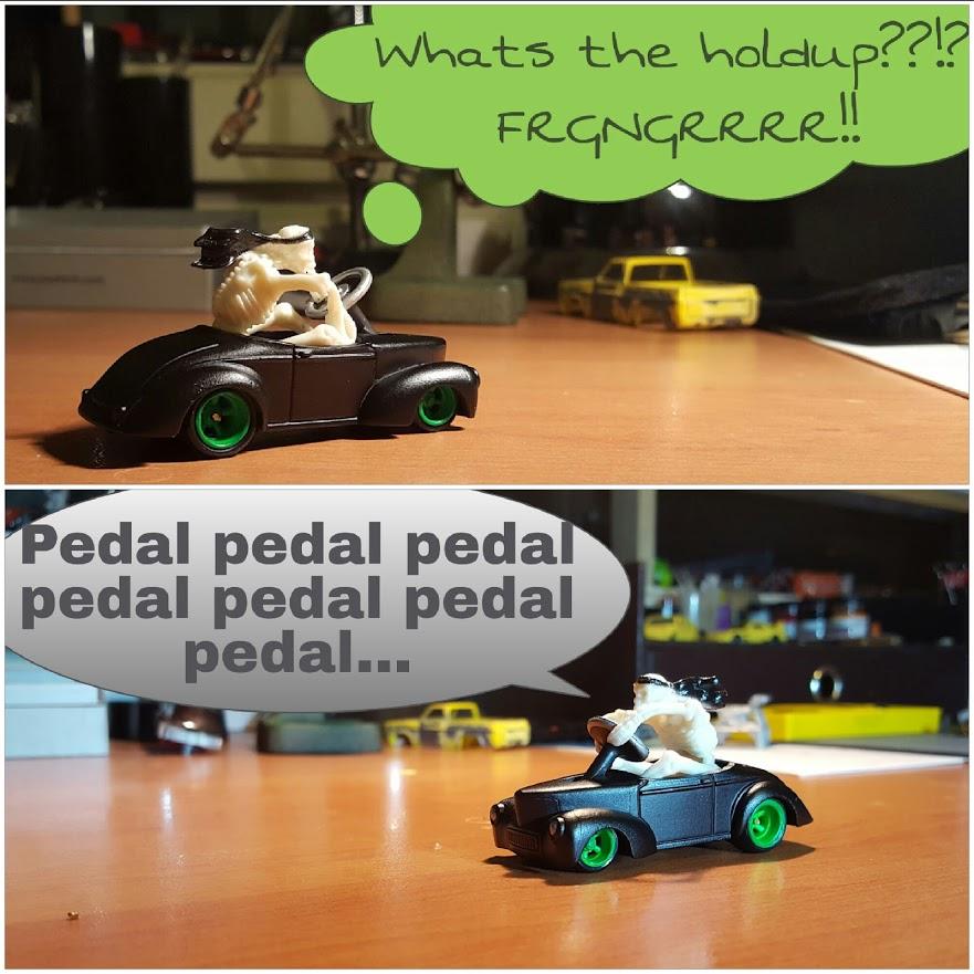 skeleton stealing my custom hotwheels willys pedal car