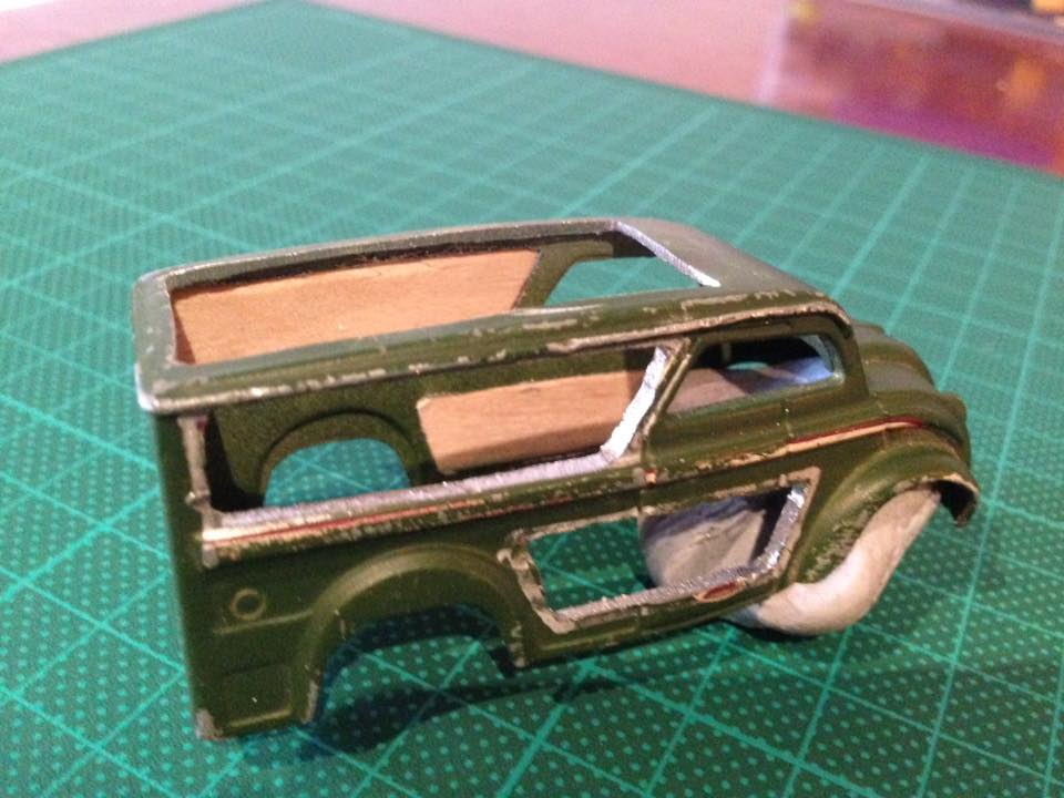 How to cut hot wheels cars with tinsnips and a drill 3