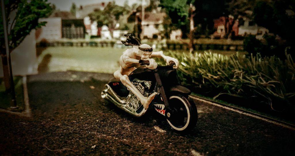 Skeleton on bike 3