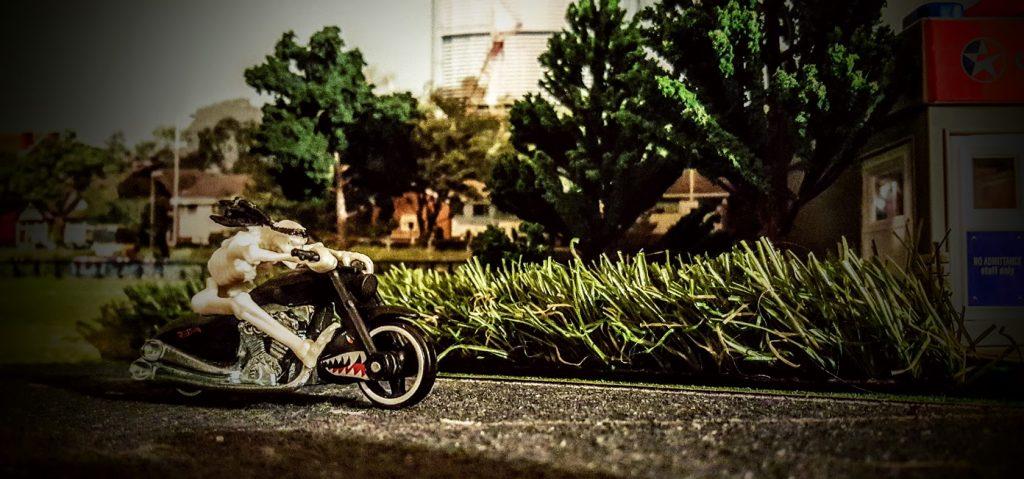 Skeleton on bike 4