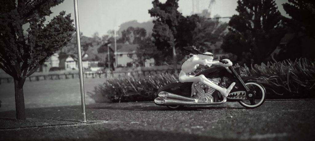 Skeleton on bike 5