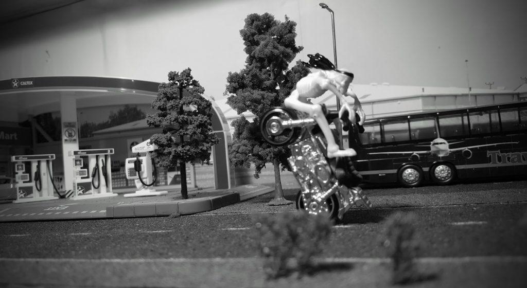 death rides a honda monkey on the hot wheels diorama shelf