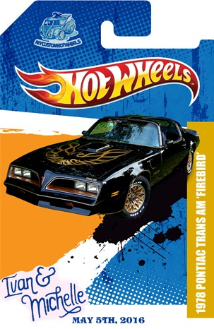 Custom Hot Wheels Trans Am Wedding Gift and love story