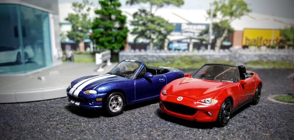 Mazda MX5 Miata meet on the Hot Wheels diorama shelf