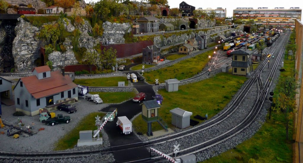 HO Scale Train setup with diorama