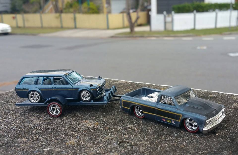 custom 520 wagon riding on custom flatbed trailer