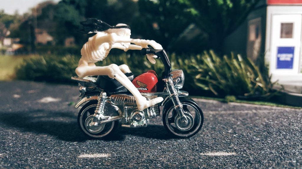 death rides a honda monkey on the hot wheels diorama shelf