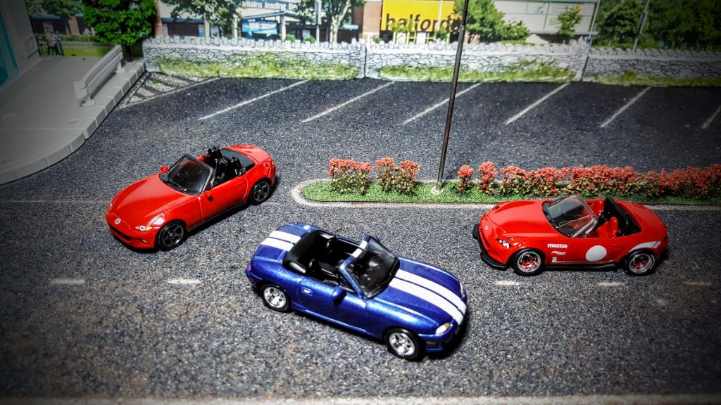 Mazda MX5 Miata meet on the Hot Wheels diorama shelf
