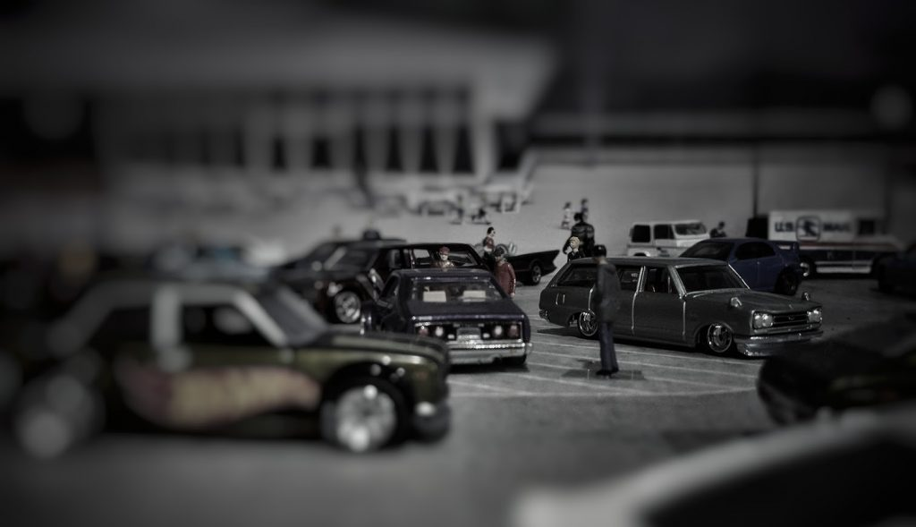 JDM Hot Wheels cars on 1:64 scale diorama scene