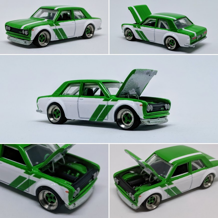 how to cut out perfectly remove bonnet from Hot Wheels diecast car - datsun 510