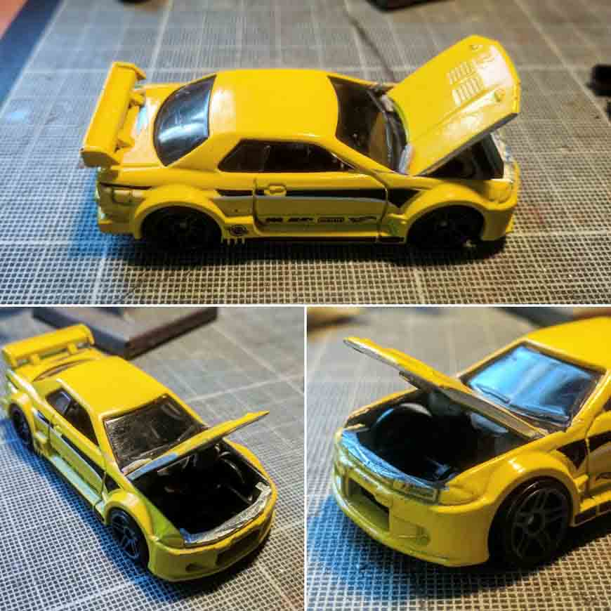 how to precisely cut and remove bonnet and panels from Hot Wheels cars
