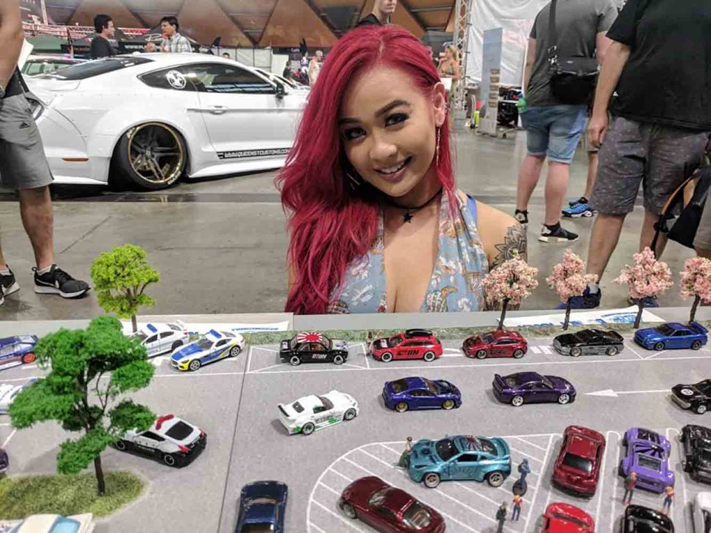Miss HIN Melissa Grace posing with My Custom Hot Wheels